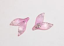 Пластиковая подвеска Хвост с блестками, Розовый, 35х29 мм