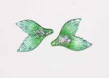 Пластиковая подвеска Хвост с блестками, Зеленый, 35х29 мм