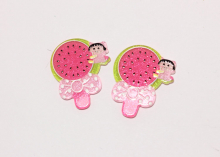 Кабошон Розовый арбуз+девочка, 26х32 мм