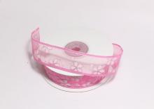 Органза Цветы Розовая, блестки серебро, 25 мм