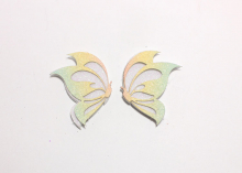Патч для самостоятельной склейки Бабочка парная, 5 см, Розово-желто-зеленая