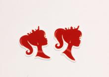 Кабошон плоский Ученица светло-красная, 40-45 мм