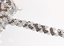 Лента змейка с пайетками, Серебро, 18 мм