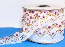 Кружево Белое с рисункомзолото-фуксия, 3 см