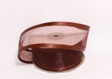 Органза с окантовкой атласной, 40 мм. Шоколадная
