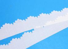 Лента шифоновая с ажурным краем, Молочная, 3 см