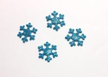 Патч снежинка глиттер 2 см, голубая