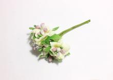 Букетик цветочков с блестками. 6 веточек в связке, светло-желто