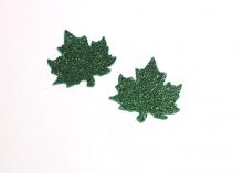Лист кленовый из глиттерного фетра, Зеленый, 5 см