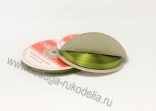 Лента атласная, 6 мм. оливка В-151 (боб. 27м)