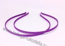 Ободок металл+ткань, 6 мм, фиолетовый