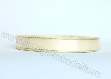 Атласная лента с люрексом 12мм, айвори/золото