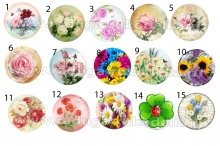 "Картинки ""Цветы-1"" на самоклейке под эпоксидку на крышки 25 мм."
