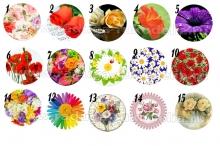 "Картинки ""Цветы-2"" на самоклейке под эпоксидку на крышки 25 мм."