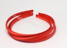 Ободок пластик+ткань, красный, 1 см