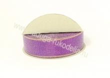 Парча фиолетовая с люрексом, 25 мм