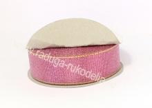 Парча розовая с люрексом, 25 мм