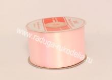 Атласная лента 5 см, бледно-розовый В-033