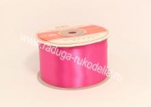 Атласная лента 5 см, ярко-розовая В-044