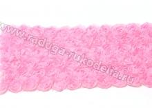Лента шифон с розами, ширина 9 см, розовая. Отрез 22 см