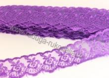 Кружево вышивка на капроне 4 см. Фиолетовое