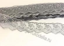Кружево вышивка на капроне 4 см. Серое