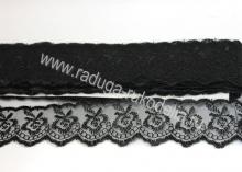 Кружево вышивка на капроне 4 см. Черное