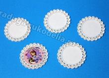 Крышка пластиковая со стразами, внутренний диаметр 25 мм, белая