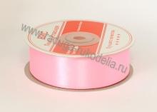 Лента атласная 25 мм, розовая В-038