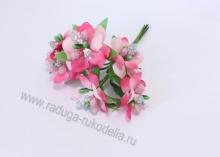 Букетик цветочков с блестками. 6 веточек в связке, ярко-розовый