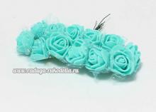 Букетик розочек с фатином 12 штук, размер розы 2 см. . Мятные