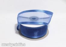 Органза с окантовкой атласной, 40 мм. Темно-синяя