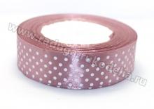 Лента атласная, 25 мм горох Цвет пенка