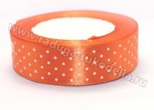 Лента атласная, 25 мм мелкий горох на ярко-оранжевом