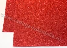 Фоамиран глиттерный, красный. 20х30 см