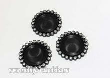 Крышка пластиковая со стразами, внутренний диаметр 25 мм, черная