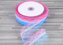 Кружево яркое Розово-голубое, 4 см