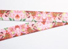 Лента эластичная на повязки, 15 мм. Цветы розовая