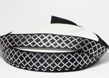Репсовая лента черная, ромбы серебро. 22 мм