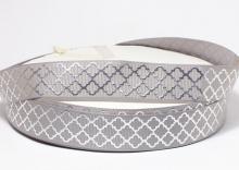 Репсовая лента серая, ромбы серебро. 22 мм