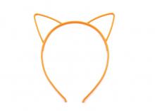 Ободок пластиковый с ушками Лисичка, Ярко-оранжевый, 5 мм