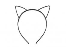 Ободок пластиковый с ушками Кошечка, Черный, 5 мм