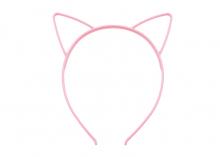 Ободок пластиковый с ушками Кошечка, Розовый, 5 мм