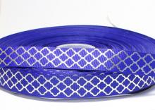 Репсовая лента синяя, ромбы серебро. 22 мм
