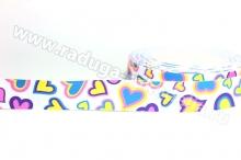 Лента репсовая с рисунком Сердечки разноцветные, 25 мм