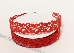 Лента декоративная Завитки, красная, 22 мм