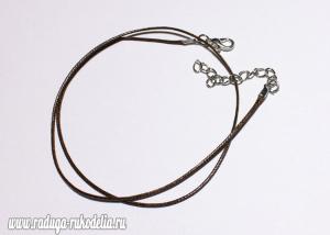 Шнурок с застежкой чокер, коричневый, 40 см