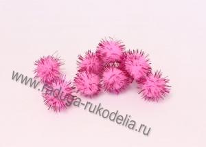Помпоны с люрексом, 2 см. ярко-розовые