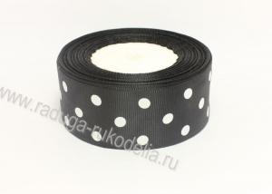 Репсовая лента горох белый крупный на черном, 40 мм