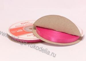 Лента атласная, 6 мм. ярко-розовая В-044 (боб. 27м)